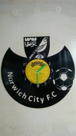 Norwich City F.C Vinyl Record Clock