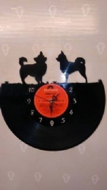 Chihuahua 2 Dogs Vinyl Record Clock