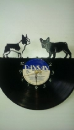 French Bulldogs 2 Vinyl Record Clock