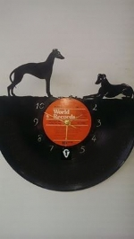 Greyhound Dogs 2 Vinyl Record Clock