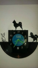 Chihuahua Dogs 3 Vinyl Record Clock