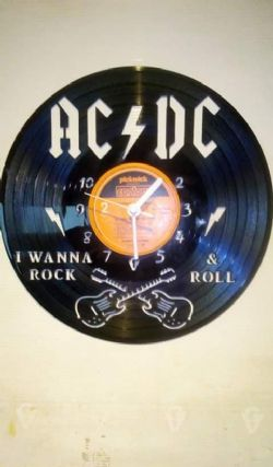 Acdc Guitars Themed Vinyl Record Clock