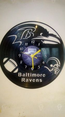 Baltimore Ravens American Football Vinyl Record Clock