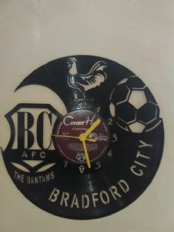 Bradford City A.F.C. Football Badge Themed Vinyl Record Clock