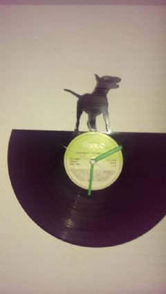 English Bull terrier Dog Pose 1 Vinyl Record Clock