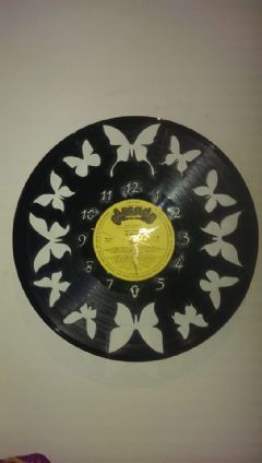 Butterfly Vinyl Record Clock