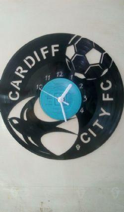Cardiff City Fc Football Themed Vinyl Record Clock