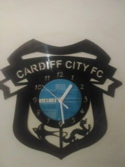 Cardiff City Fc Football Badge Themed Vinyl Record Clock