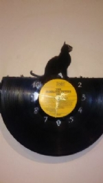 Cat Sitting Vinyl Record Clock
