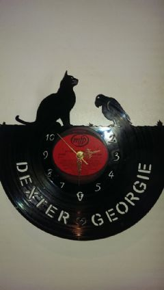 Cat And African Grey Parrot Vinyl Record Clock