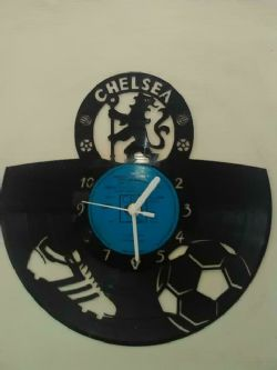 Chelsea Fc Ball and Boot Football Themed Vinyl Record Clock