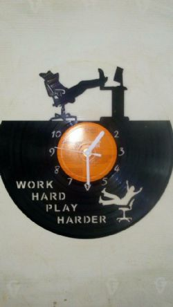 Computer Work Chilling Themed Vinyl Record Clock