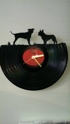 Staffordshire Bull terrier And French Bulldog Vinyl Record Clock