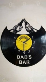 Custom Dad's Bar Vinyl Record Clock