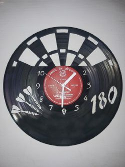 Darts Board 180 Vinyl Record Clock