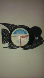 Flower-Horn Fish Vinyl Record Clock