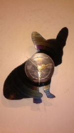 French Bulldog Sitting Full Vinyl Record Clock