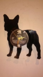 French Bulldog Full Vinyl Record Clock