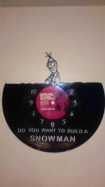 Frozen Olaf Sitting Vinyl Record Clock