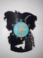 Frozen Elsa Anna silhouette Themed Vinyl Record Clock