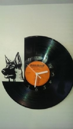 German Shepherd Face Themed Vinyl Record Clock