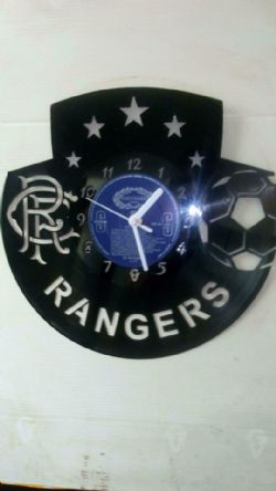 Rangers Fc Badge Themed Vinyl Record Clock