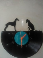 Greyhound 1 Standing 1 Sitting Dog Themed Vinyl Record Clock