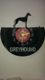 Greyhound Dog Vinyl Record Clock