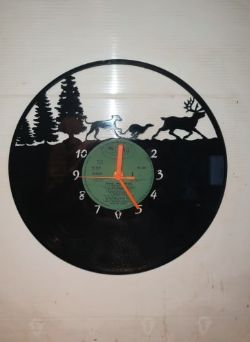 Greyhound and Stag Deer Themed Vinyl Record Clock
