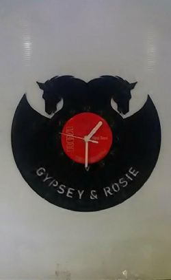 Horses Heads Silhouette Personalised Vinyl Record Clock