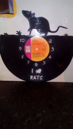 I Love Rats (Top) Vinyl Record Clock