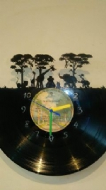 Jungle Animal Scene Vinyl Record Clock