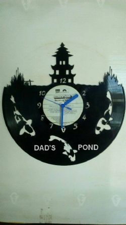 Koi Fish Personalised Vinyl Record Clock