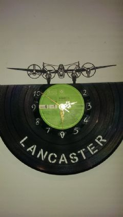 Lancaster Bomber Front View Vinyl Record Clock