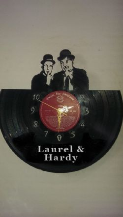 Laurel and Hardy Hollywood Themed Vinyl Record Clock