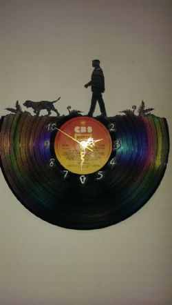 Spaniel Hunting With Man Vinyl Record Clock