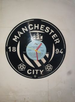 Manchester City FC Badge Themed Vinyl Record Clock