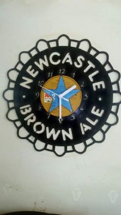 Newcastle Brown Ale Bottle Cap Themed Vinyl Record Clock