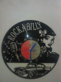 Rockabilly Themed Vinyl Record Clock