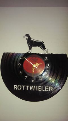 Rottweiler Dog Vinyl Record Clock