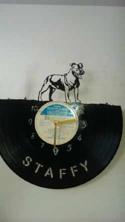 Staffordshire Bull terrier Dog Vinyl Record Clock