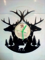 Stags. Deer Scenery Themed Vinyl Record Clock