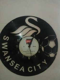 Swansea City FC Football Vinyl Record Clock