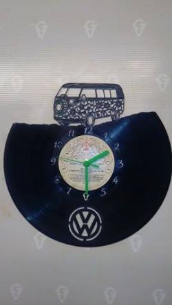 Vw Flower Van Vinyl Record Clock
