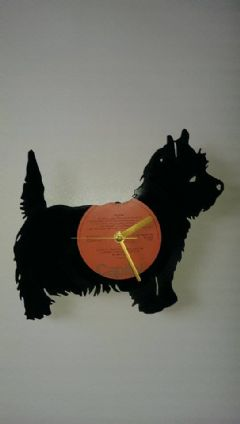 West Highland Terrier Full Dog Vinyl Record Clock