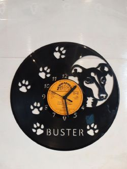 Greyhound or Whippet Face Themed Vinyl Record Clock