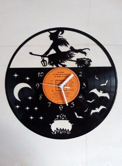Witch Themed Vinyl Record Clock
